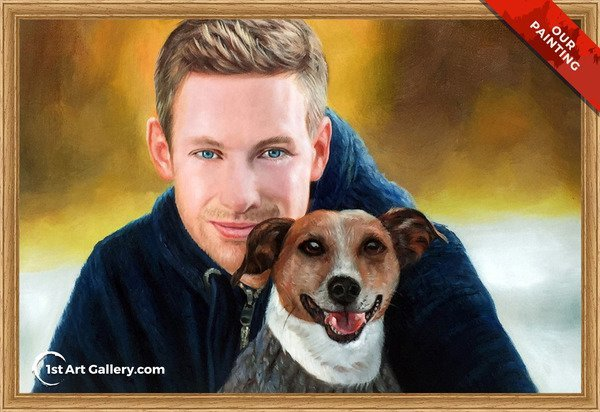 Hand-painted portrait of a guy with his dog