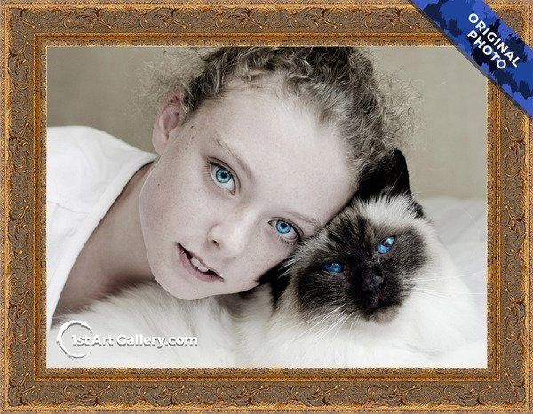 A photo of a girl with a siamese cat