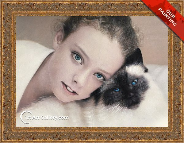 Custom portrait of a girl with a siamese cat