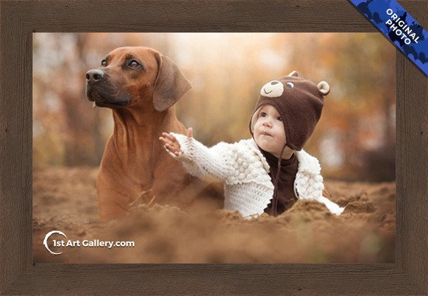 A photo of a little kid with a dog
