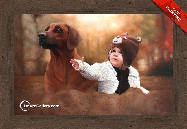 Hand-Painted Portrait of a little kid with a dog