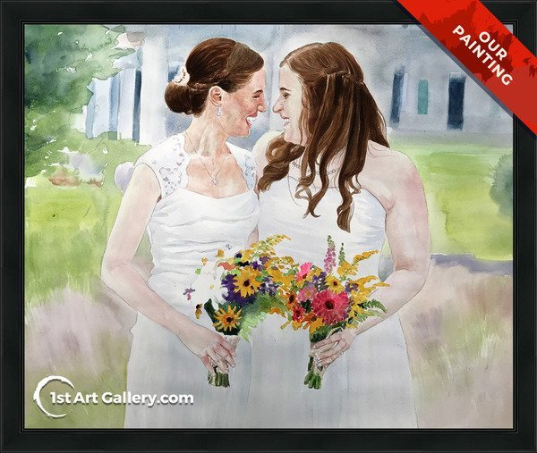 Hand-painted portrait of a bride and her bridesmaid