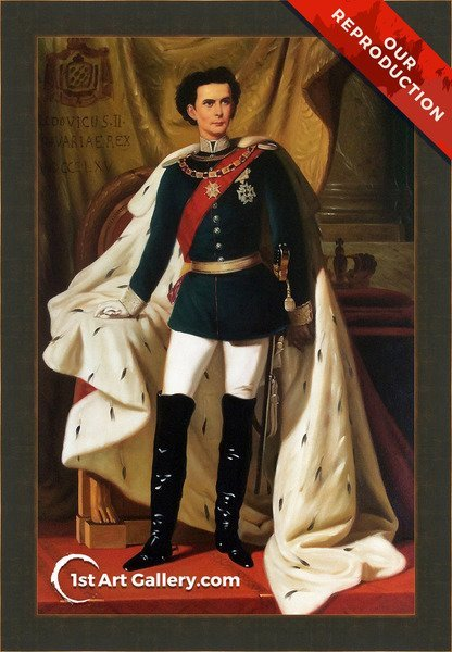 Portrait of Ludwig II Painting by Ferdinand II Piloty - Oil Reproduction