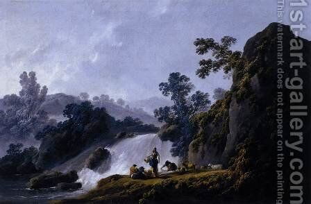 Landscape with Washerwomen 1792 by Jean-Baptiste Pillement - Reproduction Oil Painting