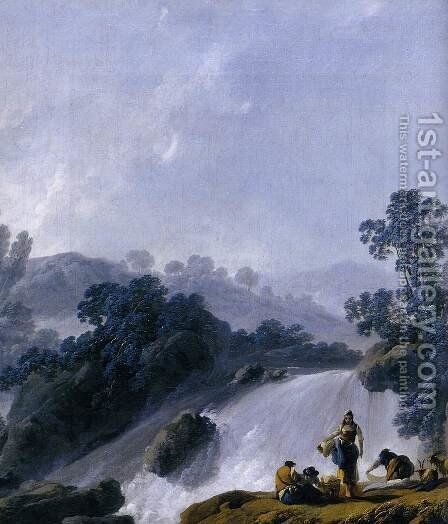 Landscape with Washerwomen (detail) by Jean-Baptiste Pillement - Reproduction Oil Painting