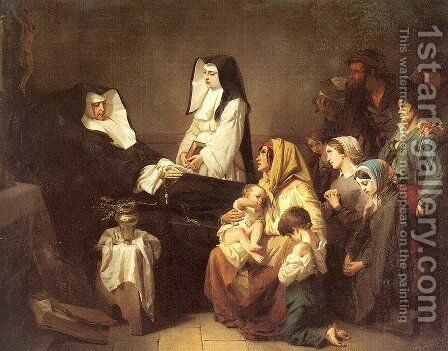 The Death of a Sister of Charity 1850 by Isidore Alexandre Augustin Pils - Reproduction Oil Painting