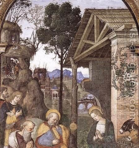 Adoration of the Christ Child (detail) c. 1490 by Bernardino di Betto (Pinturicchio) - Reproduction Oil Painting