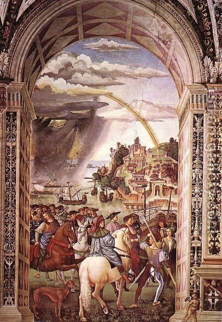 Aeneas Piccolomini Leaves for the Council of Basle 1502-08 by Bernardino di Betto (Pinturicchio) - Reproduction Oil Painting