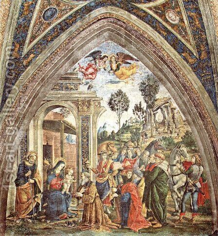 The Adoration of the Magi by Bernardino di Betto (Pinturicchio) - Reproduction Oil Painting