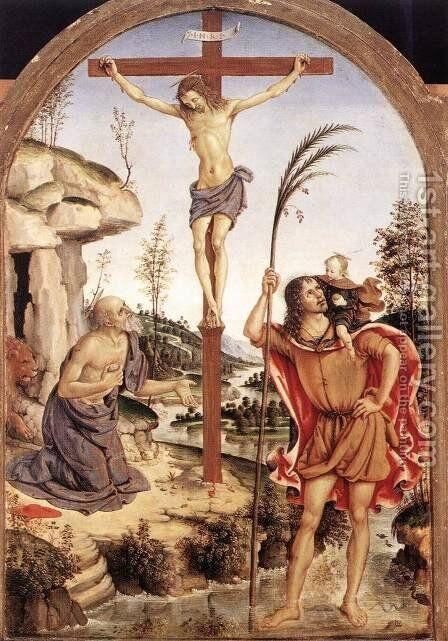 The Crucifixion with Sts Jerome and Christopher c. 1471 by Bernardino di Betto (Pinturicchio) - Reproduction Oil Painting