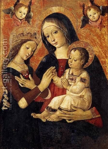 The Mystical Marriage of St Catherine by Bernardino di Betto (Pinturicchio) - Reproduction Oil Painting