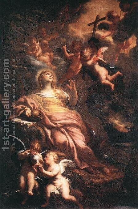 Magdalene in the Desert 1674 by Domenico Piola - Reproduction Oil Painting