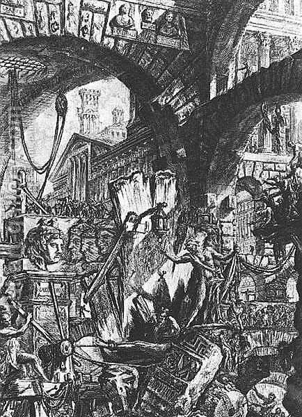 Carceri d'Invenzione one of the plates added for the second edition 1760 by Giovanni Battista Piranesi - Reproduction Oil Painting