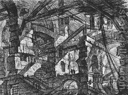 Carceri d'Invenzione- plate XIV  (first edition) by Giovanni Battista Piranesi - Reproduction Oil Painting