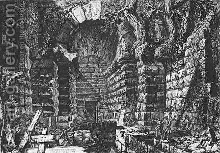 Inspector Visiting the Sluice Gates of Albano by Giovanni Battista Piranesi - Reproduction Oil Painting