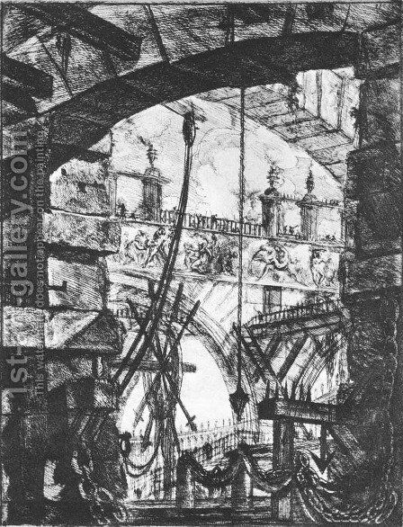 The Prisons (plate IV) c. 1760 by Giovanni Battista Piranesi - Reproduction Oil Painting