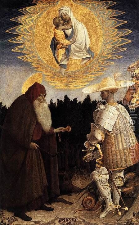 Apparition of the Virgin to Sts Anthony Abbot and George 1445 by Antonio Pisano (Pisanello) - Reproduction Oil Painting