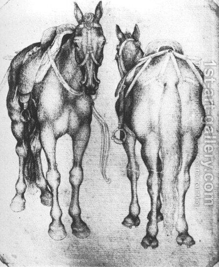 Horses 1433-38 by Antonio Pisano (Pisanello) - Reproduction Oil Painting