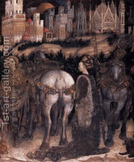 Saint George and the Princess of Trebizond (detail-1) 1436-38 by Antonio Pisano (Pisanello) - Reproduction Oil Painting