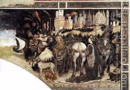 St George and the Princess of Trebizond (right side) 1436-38 by Antonio Pisano (Pisanello) - Reproduction Oil Painting