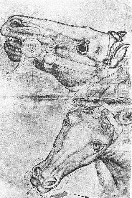 Study of Horse Heads 1433-38 by Antonio Pisano (Pisanello) - Reproduction Oil Painting