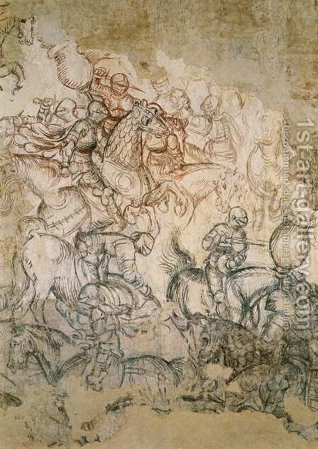 Tournament Battle (detail) 1440s by Antonio Pisano (Pisanello) - Reproduction Oil Painting