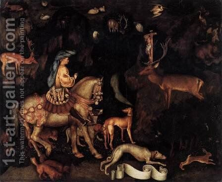 Vision of St Eustace c. 1440 by Antonio Pisano (Pisanello) - Reproduction Oil Painting