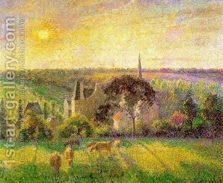 Countryside & Eragny Church and Farm  1895 by Camille Pissarro - Reproduction Oil Painting