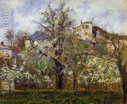 Kitchen Garden with Trees in Flower, Pontoise  1877 by Camille Pissarro - Reproduction Oil Painting