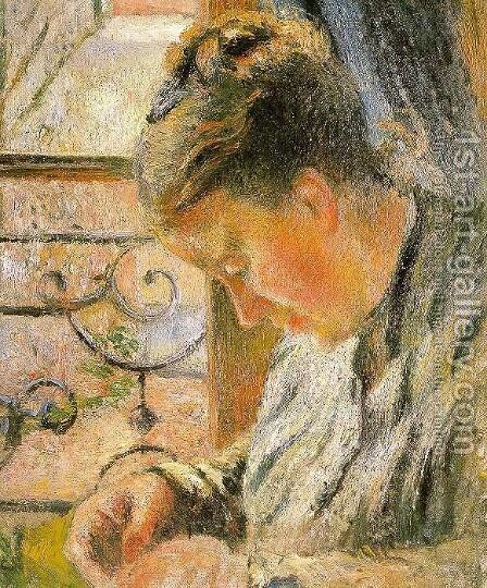 Portrait of Madame Pissarro Sewing near a Window  1878-79 by Camille Pissarro - Reproduction Oil Painting