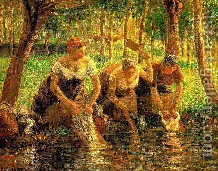 Washerwomen, Eragny-sur-Epte 1895 by Camille Pissarro - Reproduction Oil Painting