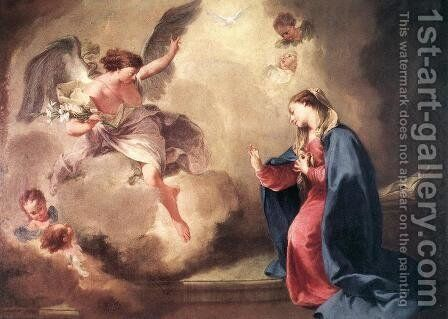 Annunciation 1758 by Giovanni Battista Pittoni the younger - Reproduction Oil Painting