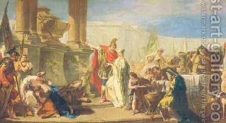 Polyxenes Sacrificing to the Gods of Achilles by Giovanni Battista Pittoni the younger - Reproduction Oil Painting