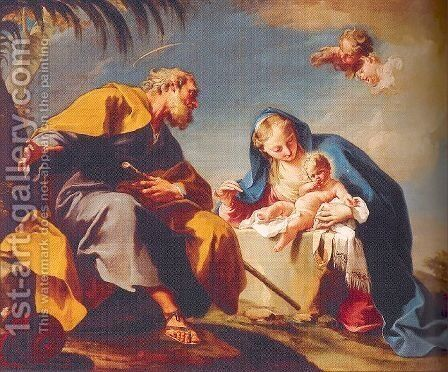 The Rest on the Flight into Egypt 1725-26 by Giovanni Battista Pittoni the younger - Reproduction Oil Painting