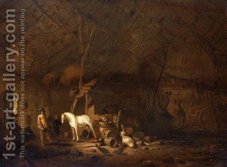 Barn Interior by Egbert van der Poel - Reproduction Oil Painting