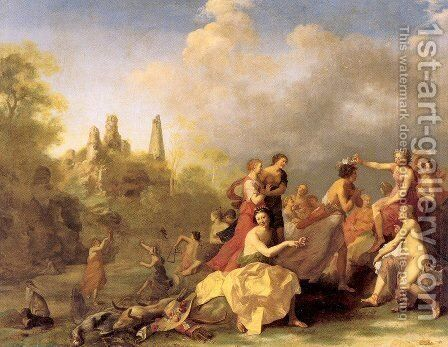 Amaryllis Giving Myrtill the Prize 1635 by Cornelis Van Poelenburgh - Reproduction Oil Painting