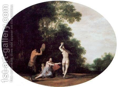Nymphs and Satyr 1630 by Cornelis Van Poelenburgh - Reproduction Oil Painting
