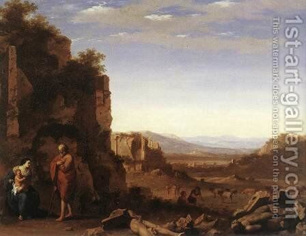 Rest on the Flight into Egypt c. 1640 by Cornelis Van Poelenburgh - Reproduction Oil Painting
