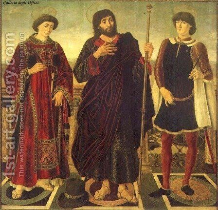 Altarpiece of the SS. Vincent, James and Eustace 1468 by Antonio Pollaiolo - Reproduction Oil Painting