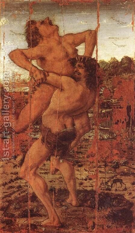Hercules and Antaeus c. 1478 by Antonio Pollaiolo - Reproduction Oil Painting