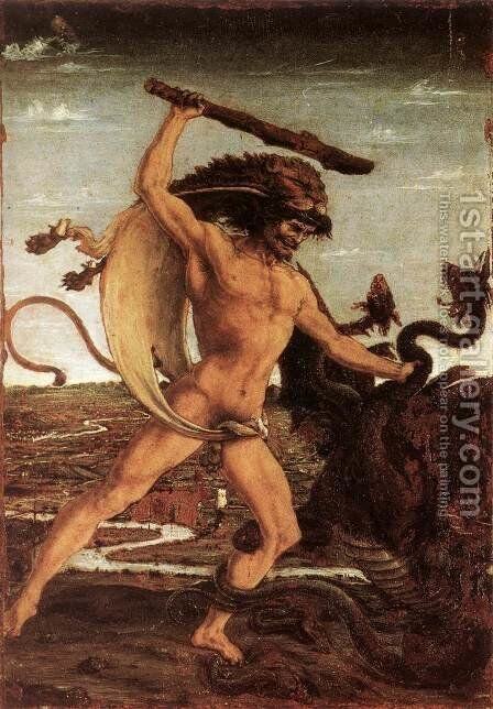 Hercules and the Hydra c. 1475 by Antonio Pollaiolo - Reproduction Oil Painting