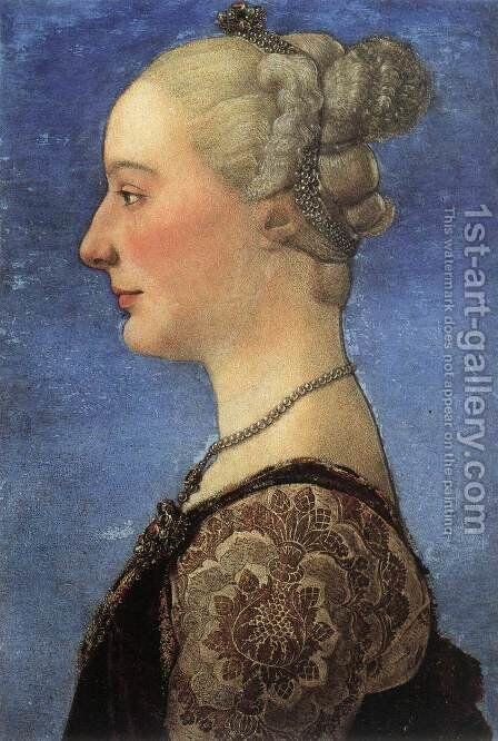 Portrait of a Young Woman c. 1475 by Antonio Pollaiolo - Reproduction Oil Painting
