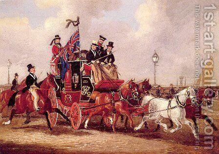 The Last Mail Leaving Newcastle, July 5, 1847 by James Pollard - Reproduction Oil Painting