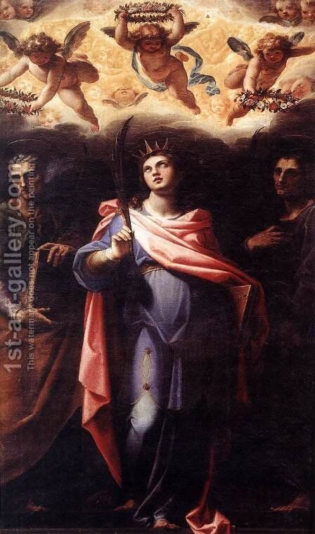 St Domitilla with Sts Nereus and Achilleus c. 1598-99 by Cristoforo Pomarancio (Roncalli) - Reproduction Oil Painting
