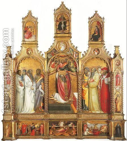 Polyptych of the Ascension of St. John the Evangelist 1410-20 by Giovanni del Ponte (also known as Giovanni di Marco) - Reproduction Oil Painting