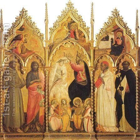 The Coronation of the Virgin, with Angel Musicians and Saints by Giovanni del Ponte (also known as Giovanni di Marco) - Reproduction Oil Painting