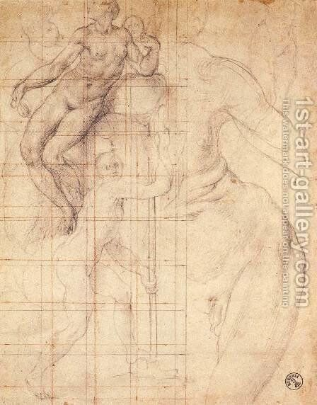 Adam and Eve at Work 1546-56 by (Jacopo Carucci) Pontormo - Reproduction Oil Painting