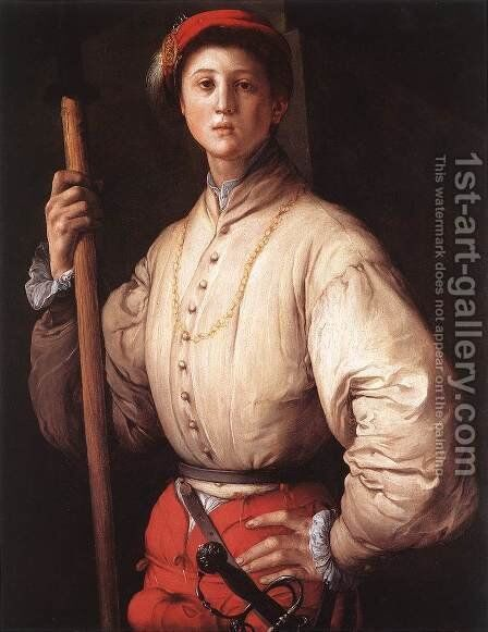 Halberdier 1530s 2 by (Jacopo Carucci) Pontormo - Reproduction Oil Painting