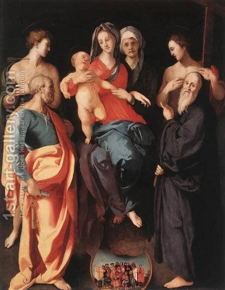 Madonna and Child with St Anne and Other Saints c. 1529 by (Jacopo Carucci) Pontormo - Reproduction Oil Painting