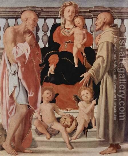 Madonna and Child with Two Saints 1522 by (Jacopo Carucci) Pontormo - Reproduction Oil Painting